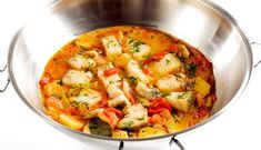 'Cataplana de bacalhau'. The preparation of this dish requires a 'cataplana', a specific type of pot, widely used in Algarve (Portugal). Don't have one? Come here and try it out! :)