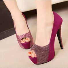 Womens Peep Toe Glitter Platform Pumps Stiletto Cocktail Summer High Heels Shoes