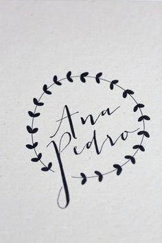 Simple black and white logo Oh So Beautiful Paper: Ana + Pedro's Modern Organic Wedding Invitations Wedding Logo Design, Wedding Logos, Modern Wedding Invitations, Wedding Stationary, Wedding Designs, Wedding Typography, Typography Letters, Typography Design, Branding Design
