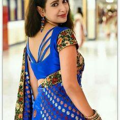 Half Saree Designs, Fancy Blouse Designs, Saree Blouse Designs, Blouse Neck Patterns, Back Neck Designs, Amai, Indian Outfits, Sarees, Blouses