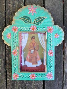 Frida Kahlo Self-Portrait Tin Niche Reliquary Retablo Nicho Mexican Folk Art