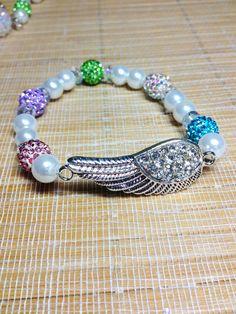 Rhinestone wing with multi-color rhinestone ball bracelet