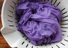 Dying with red cabbage. Ammonia turns the colour to blue and a sprinkle of alum will turn back to purple. Lisa Jordan, Mn, USA
