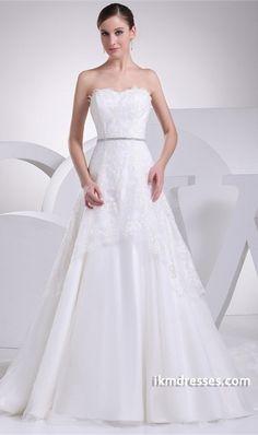 Strapless Brush/ Sweep Train Satin/Fine-netting Corset-back Wedding Dress http://www.ikmdresses.com/Strapless-Brush-Sweep-Train-Satin-Fine-netting-Corset-back-Wedding-Dress-p19292