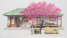 """""""South Korean artist Me Kyeoung Lee sees beauty even in mundane everyday objects. Her sketches of local convenience stores are a charming and skillful take on what other people might miss out. Lee has been documenting these little corner shops for the past 20 years."""""""