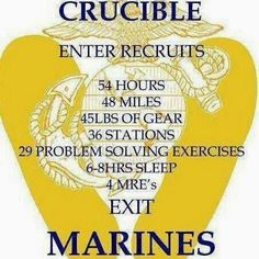 crucible candle marine 54 Hours 48 Miles 45 Lbs. of Gear 36 Stations 29 Problem Solving Exercises 6-8Hrs Sleep 4 MRE's Exit  MARINES