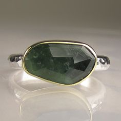 Rose Cut Green Tourmaline Ring  18k Gold and by JanishJewels, $132.00