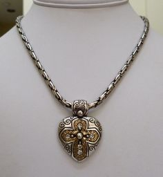 BRIGHTON ANTIQUED SILVER GOLD PLATE ORNATE CROSS SLIDE PENDANT THICK NECKLACE #Pendant