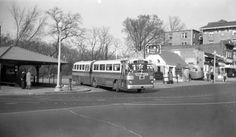 Capital Transit demonstration run of a Twin Coach articulated bus (a model they did not end up using), April 3, 1948. The Calvert Street, NW turnaround is still used by buses today [photo by Robert S. Crockett].