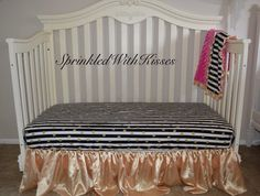 Fitted crib sheet in black and white stripes & gold dots, gold nursery, nursery bedding by SprinkledWithKisses on Etsy https://www.etsy.com/listing/237996850/fitted-crib-sheet-in-black-and-white