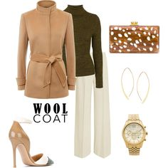 Camel Wool Coat by maranella on Polyvore featuring Topshop, Jaeger, STELLA McCARTNEY, Gianvito Rossi, Edie Parker, Lana and Michael Kors