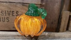 Orange Mini Pumpkin with Green Stem Solid by AvalonGlassworks