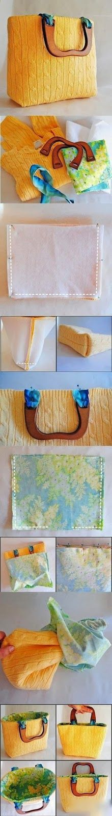 How To Make a bag from old sweater  By using your own  sweater you can make a new bag. Just find some cloth for the inner side  of the...
