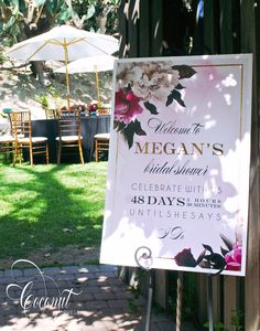 Bridal Shower Welcome Sign // Bridal Shower Decor // Floral, Gold, Watercolor, Pink // Design by Coconut Press Bridal Shower Welcome Sign, Bridal Shower Signs, Bridal Shower Tea, Bridal Shower Decorations, Wedding Welcome, Bridal Shower Games, Bridal Shower Planning, Garden Bridal Showers, Gold Watercolor