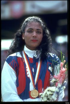 Florence Griffith-Joyner Florence Griffith-Joyner's 10.49 second 100 meter world record from the 1987 World Championships still stands. Only Carmelita Jeter has come close to touching the mark with a 10.64 in Shanghai, China in 2009.