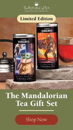 Star Wars: The Mandalorian Limited Edition Two Tin Gift Set - Mysterious Black & The Child Green Teas | The perfect gift for Star Wars fans, enjoy these teas hot or iced. Mysterious Black Tea is a hearty, deep blend with bold and perfectly balanced infusion, perfect as is or with a splash of milk. The Child Green Tea is lightly sweet with honey and ginseng for calm energy and low-caffeine. The best of both worlds, wrapped up in a limited edition Star Wars galaxy gift box. Click to shop. Tea Gift Sets, Tea Gifts, Premium Tea, The Republic, Mandalorian, For Stars, Root Beer, Mystery, Star Wars