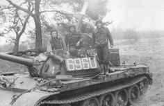 Photo of Polish People's Army (LWP) T-55 tank in the field, Cold War timeframe