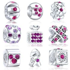 9pcs Elite Silver European Bead Charm Opal Birthstone & Swirls Barrel CZ Spacer NY47 - New Arrivals- - TopBuy.com.au