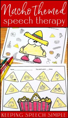 These fun nacho themed worksheets are a great way to practice articulation targets during speech therapy sessions. These no prep printables target most sounds in all positions. They also include initial blends for  /s/, /r/ and /l/. Vocalic /r/ sheets are also included. No reading required. Use these speech therapy activities with your preschool, kindergarten and early elementary students. Easy to use! Use for speech homework or during RtI sessions. Fun for Cinco De Mayo or anytime!