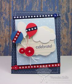 I created this card using metal dies from Your Next Stamp - Balloon Trio and Cloud Dies.