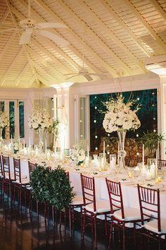 Caroline and Matthew, Destination Wedding at Round Hill Resort Jamaica - Long White Reception Table