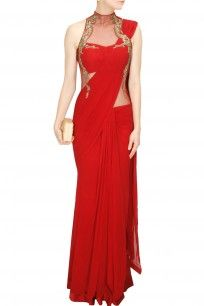 Red metal and bead embroidery pre stitched sari gown