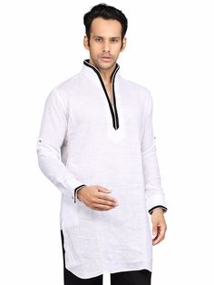 G3 Exclusive Cotton White Solid Festive Wear Short Pathani
