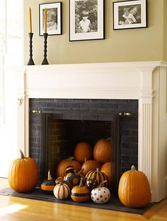 Cute idea for indoor fall decor - But I enjoy a burning wood fireplace in the Fall more! (For those fireplaces that don't function I suppose)