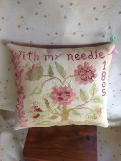 Hand stitched cross stitched green and rose color floral pin cushion- pillow.