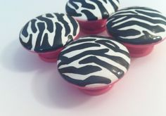 Zebra Print Dresser Knobs hand painted - hot pink with black and white zebra print. $6.00, via Etsy.