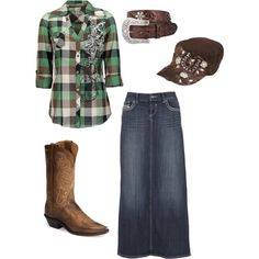 """I SO <3 that top!! I would probably trade out the cadet for a cowboy hat, though ;) """"modest cowgirl"""" by countryluver2013 on Polyvore"""