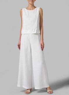 PLUS Clothing - Linen Full Length Wide Leg Pants ( Long )