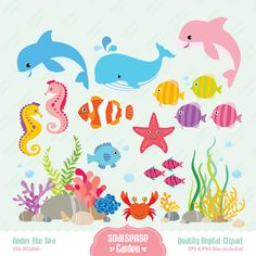 Under the Sea Digital Clipart, Dolphins, Fish, Whales, Sea Horses, Coral Clipart on Etsy, $4.50 AUD Fish Under The Sea, Under The Sea Crafts, Murals For Kids, Art For Kids, Coral Reef Craft, Under The Sea Clipart, Tree Stencil, Animal Decor, Rock Crafts