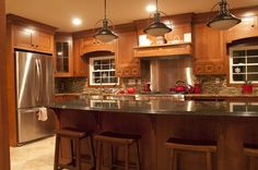 Craftsman kitchen remodel, Remodeled our builder grade kitchen into a craftsman, mission style kitchen. Granite countertops, quarter sawn oa. Kitchen Cabinet Styles, Kitchen Redo, New Kitchen, Kitchen Remodel, Kitchen Dining, Kitchen Ideas, Kitchen Paint, Rustic Kitchen, Kitchen Designs