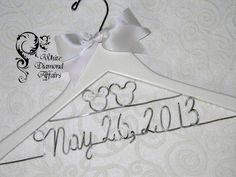 Mickey and Minnie Mouse Disney Themed Wedding Dress Hanger, Personalized Bridal Hanger, Personalized Bridal Gift - Rush delivery available by WhiteDiamondAffairs on Etsy https://www.etsy.com/listing/122431208/mickey-and-minnie-mouse-disney-themed