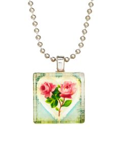 Frankie & Stein Pink Vintage Roses Game Tile Necklace