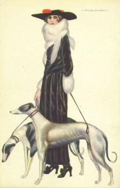 The postcard below is typical of his early and much collected work, a fashionably dressed young woman with her greyhound dogs. The greyhound was a popular Art Deco icon, the bony lines of the dog reflecting the slender and angular frame of the woman. This postcard was published in Milan in December 191