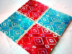 Tile Coasters Aqua Teal and Red Ceramic Coasters by UrbanCreative, $25.00