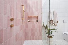 Pink Bathroom Tiles, Pink Tiles, Bathroom Plants, White Tiles, Bathroom Colours, Upstairs Bathrooms, Master Bathroom, Ensuite Room, Gold Shower