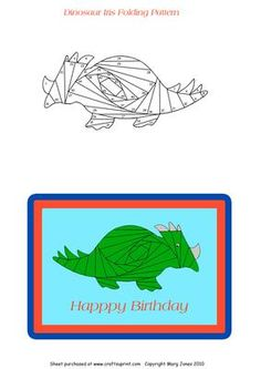 Dinosaur Iris Folding Pattern on Craftsuprint designed by Margaret Jones - Make a cute dinosaur card for a little boy's birthday. - Now available for download!
