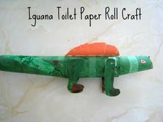 Iguana craft- rain forest animal from toilet paper roll