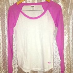 Victoria's Secret Pink Baseball Long Sleeve Victoria's Secret Pink Baseball Long sleeve shirt in Purple And white. Size Extra Small, but can easily fit a small or a smaller medium. PINK Victoria's Secret Tops Tees - Long Sleeve