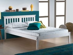 The Salvador White Washed Pine Wooden Bed is a simple yet incredibly unique design which is highly flexible to all home interiors. Available in a range of sizes, the Salvador White Washed Pine Wooden Bed makes the perfect bed for any bedroom. A white w White Wooden Bed, Wooden Double Bed, Wooden Bed Frames, Salvador, 4ft Beds, Buy Beds Online, White Washed Furniture, Metal Bunk Beds, Ottoman Storage Bed