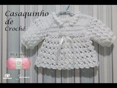 Casaquinho de Crochê para bebê tamanho RN a 1 mês Professora Simone Eleotério - Смотреть видео бесплатно онлайн Crochet Baby Sweaters, Crochet Baby Cardigan, Crochet Coat, Booties Crochet, Crochet Baby Clothes, Baby Blanket Crochet, Crochet Rugs, Crochet Beanie, Crochet Motif