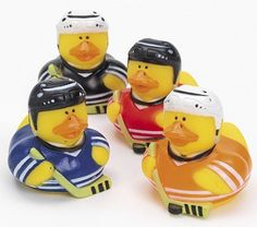 4 ICE HOCKEY RUBBER DUCKS stick puck SPORTS Cake topper PARTY FAVORS #OTC #BirthdayChild