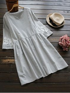 Lace Panel Smock Dress With Ladder Detail - LIGHT GREY ONE SIZE