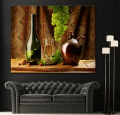 Canvas Wall Art Print Still Life White Wine Bottle Picture Colorful Home Decor