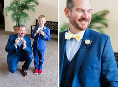 groom and son in matching blue suits and yellow bow ties @myweddingdotcom