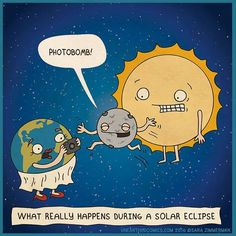 astronomy comics and science humor about what is really going on during a solar eclipse Eclipse Solar Y Lunar, Solar Eclipse Activity, Total Eclipse, Eclipse Games, Science Classroom, Teaching Science, Science Activities, Classroom Memes, Space Classroom