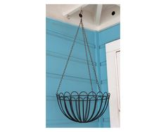 Vintage Wire Hanging Basket . Black . Planter or Storage for Kitchen or Bathroom by 13thStreetEmporium on Etsy